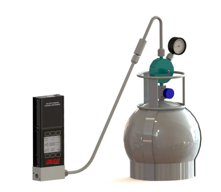 Set volumetric flow rates for air sampling canisters with an Alicat MWB mass flow meter