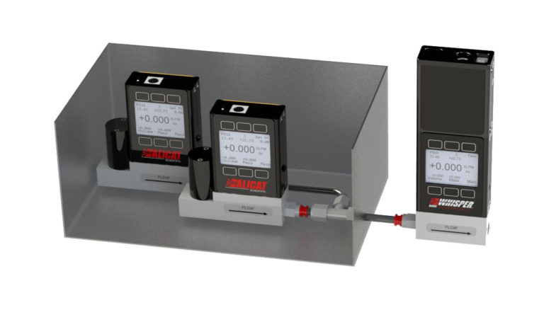 Calibrate MFCs inside gas dilution calibrators with an Alicat MWB mass flow standard