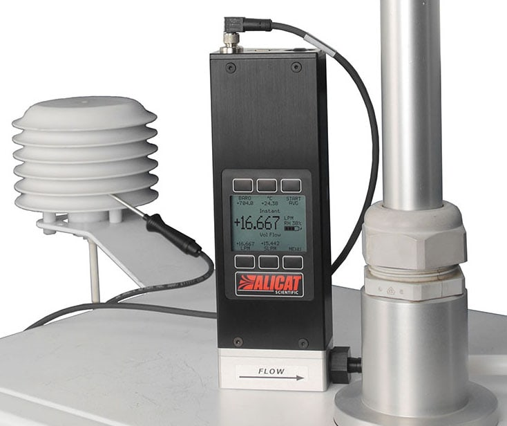 Alicat FP-25 flow calibrating a Thermo Scientific Partisol 2000 FRM air sampler