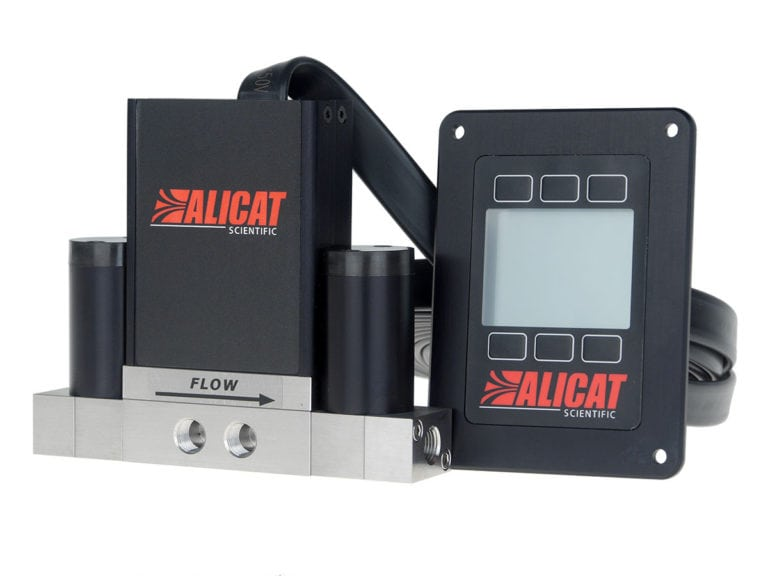 Differential pressure controller for closed volumes (PCD-PSID) by Alicat Scientific. Note the dual pressure sense ports on the front.
