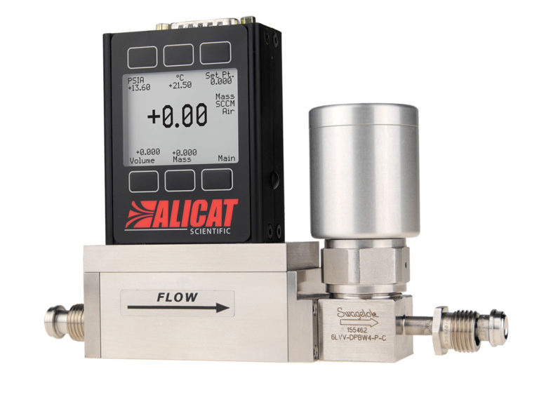 Alicat MCV gas mass flow controller for vacuum with integrated pneumatic shut-off valve