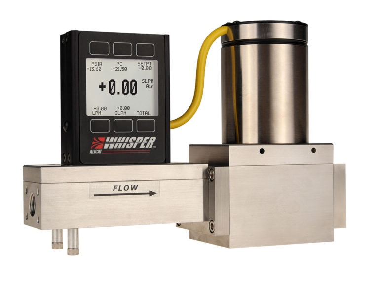 "Alicat MCRW high-flow ""Whisper"" series mass flow controller, shown with downstream valve"